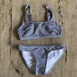 Bikini set black and white striped